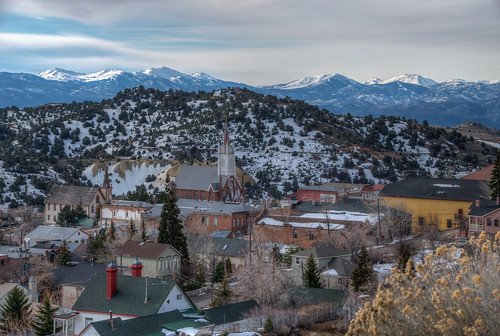 virginiacity nevada nv historic nrhp landscape snow mountain town snowy west western