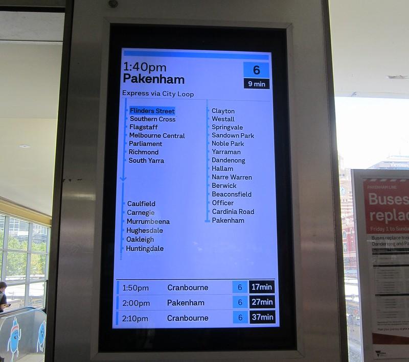 New displays at Flinders Street Station, January 2019