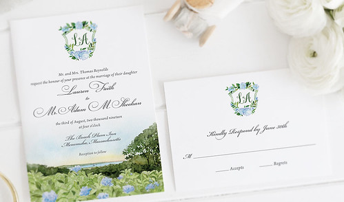 Cape Cod Hydrangea Invitation | by nooneyart