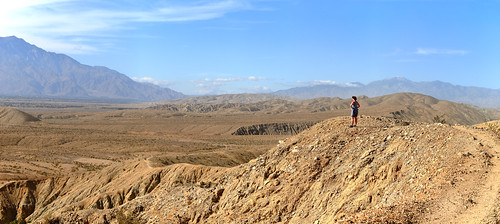 pushwalla trail pano panorama coachella mountain hill landscape nature valley field desert rock sky outdoors canyon standing plateau adventure person outdoor slope travel ridge ground view overlooking scenic