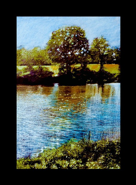 Shropshire Lake near Bridgnorth. Coloured pencil on black card by jmsw.