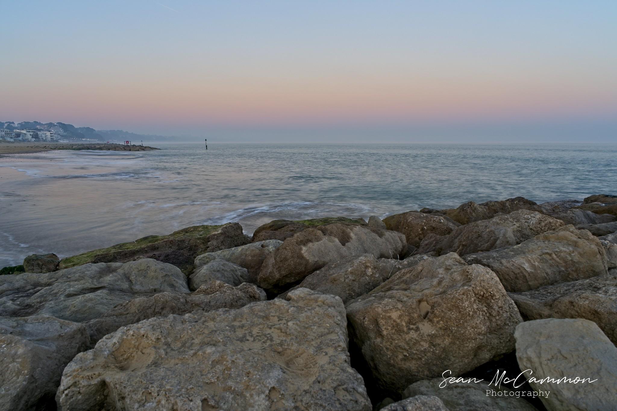 Sandbanks Sea and Rocks HDR - Looking towards Bournemouth at Sandbanks on 27th February 2019