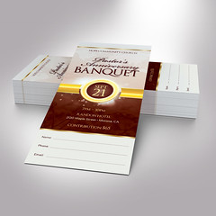 Brown Gold Clergy Banquet Ticket Word Publisher Template