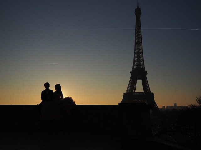Lovers and Eiffel Tower