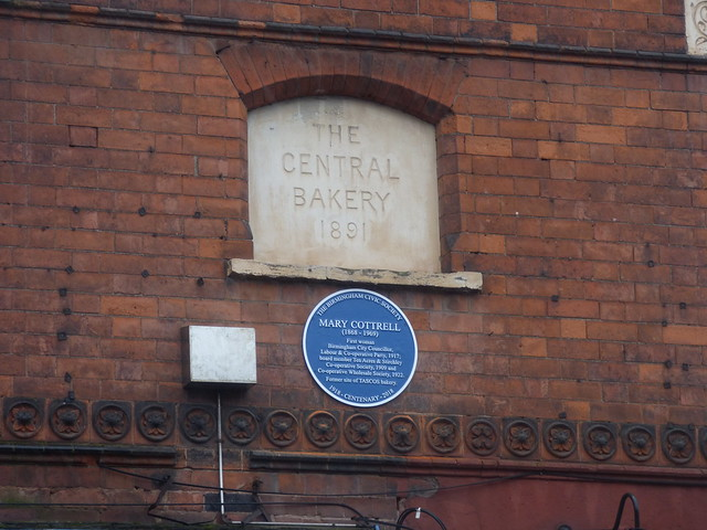 Blue plaque for Mary Cottrell at 1393 - 1395 Pershore Road, Stirchley