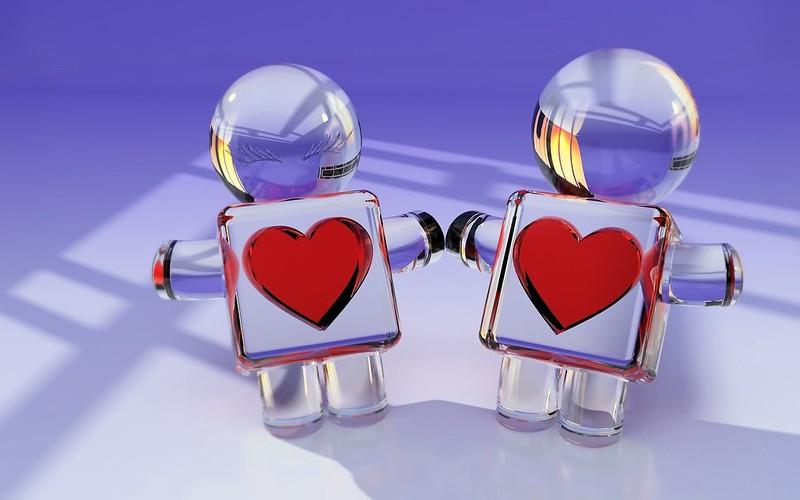 Обои игрушки, пара, сердце, стекло, любовь картинки на рабочий стол, фото скачать бесплатно