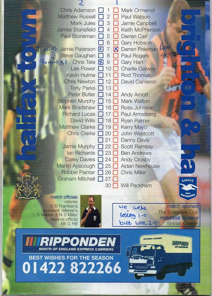 (Programme) 11-09-1999 Halifax Town 2-1 Brighton & Hove Albion 2