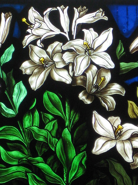Detail of the Mrs. James Hickford Memorial Stained Glass Window by Ferguson and Urie; Christ Church, Brunswick - Glenlyon Road, Brunswick