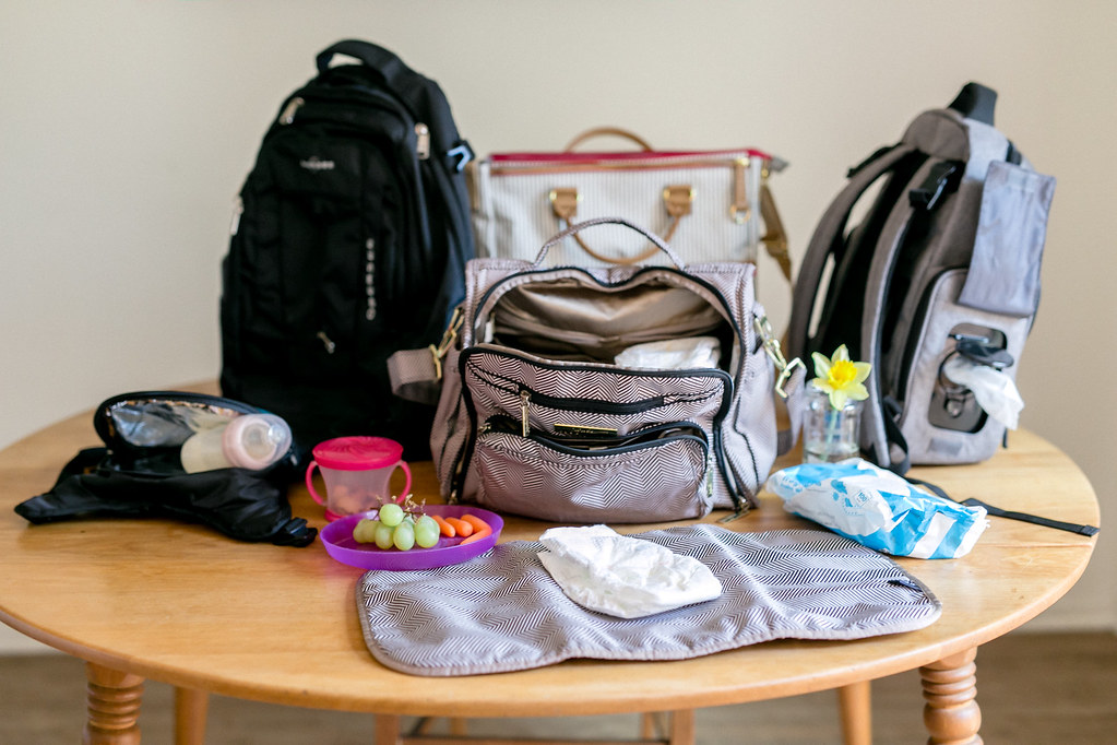 Diaper bags on kitchen counter