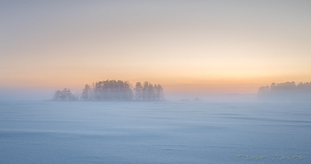Freezing cold at the golden hour on the lake Kallavesi.