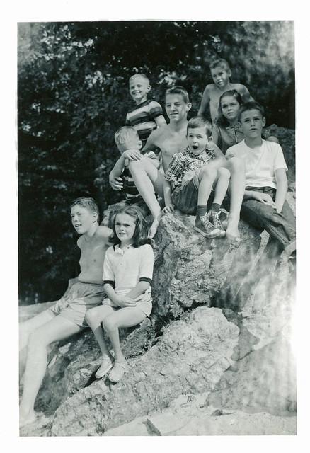 Kids Sitting on Rock, 1956