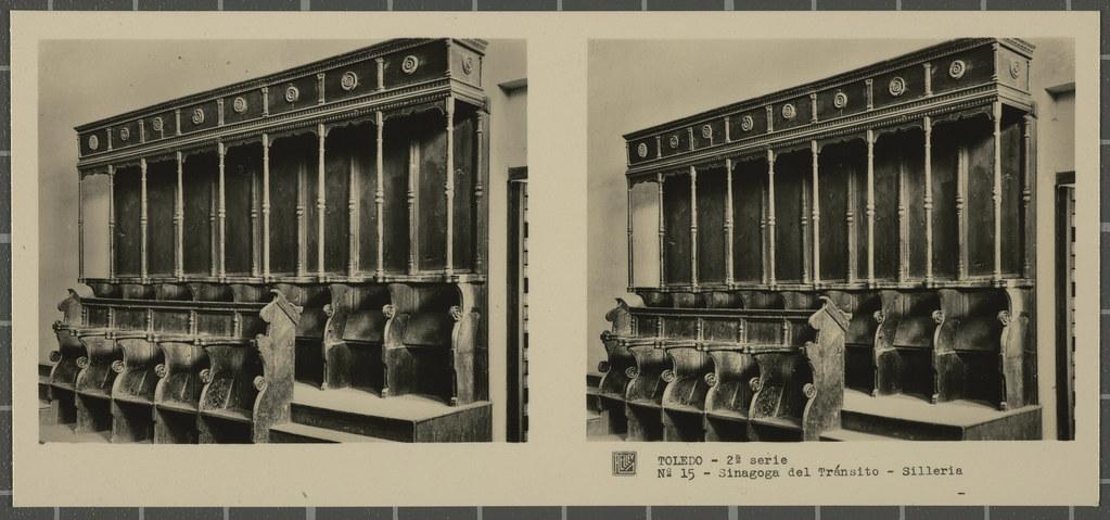 Sillería de la Sinagoga del Tránsito. Colección de fotografía estereoscópica Rellev © Ajuntament de Girona / Col·lecció Museu del Cinema - Tomàs Mallol