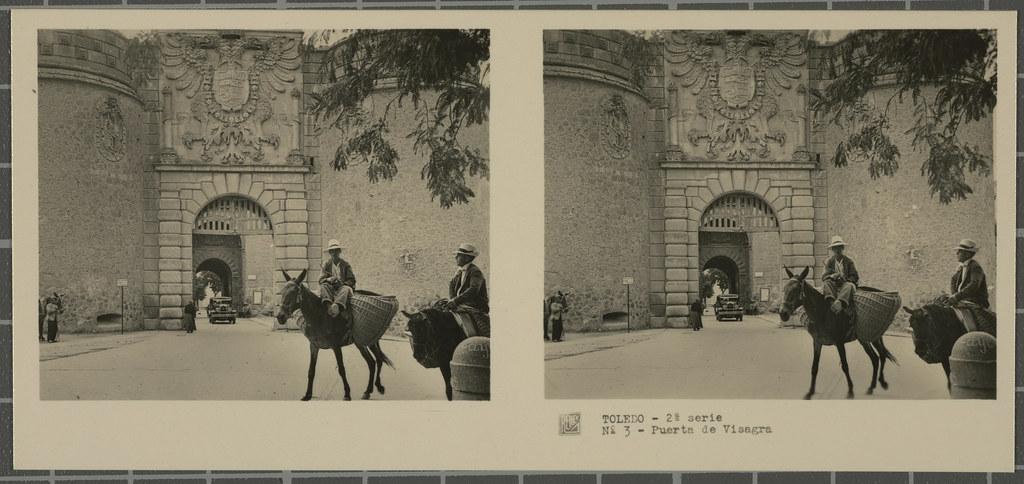 Puerta de Bisagra. Colección de fotografía estereoscópica Rellev © Ajuntament de Girona / Col·lecció Museu del Cinema - Tomàs Mallol