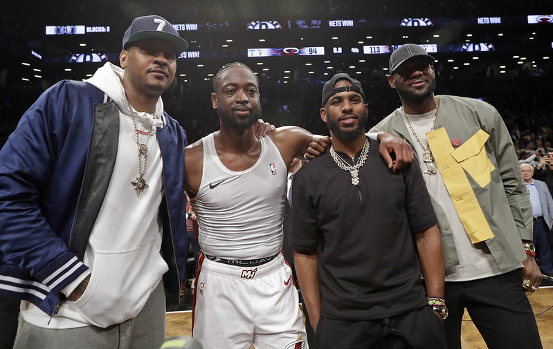 (右起)LeBron James、Chris Paul、Dwyane Wade、Carmelo Anthony。(達志影像資料照)
