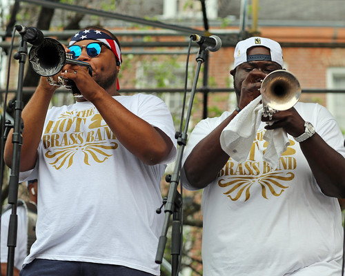 Hot 8 Brass Band at French Quarter Fest - 4.13.19. Photo by Bill Sasser.