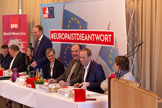 Auf dem Kreisparteitag der SPD Ammerland in Querenstede habe ich den Vorsitz abgegeben. Zum Nachfolger wurde Uwe Kroon (3.v.r.) gewählt. | by DennisRohdeMdB