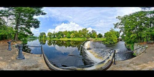brooks brooksbos landscape river charlesriver dam water falls 360 panorama panoramic natick massachusetts newengland clouds sky trees woods scenic nature