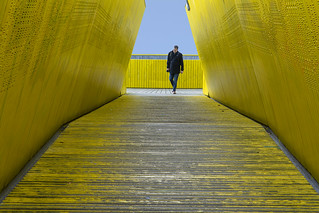 Yellow pedestrian bridge | by Jan van der Wolf
