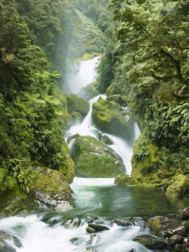 Waterfall Fiordland National Park New Zealand Newzild