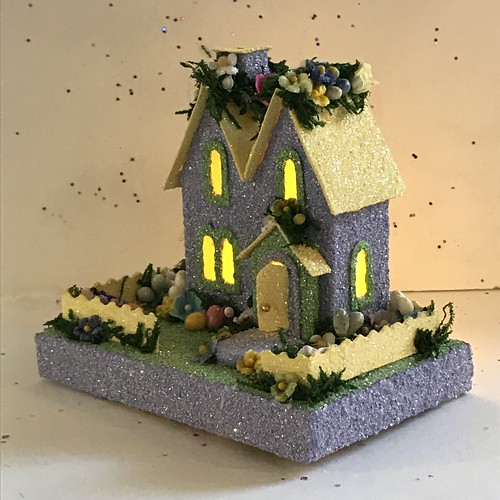 Mini Periwinkle and Yellow Spring Putz House | by christmasnotebook