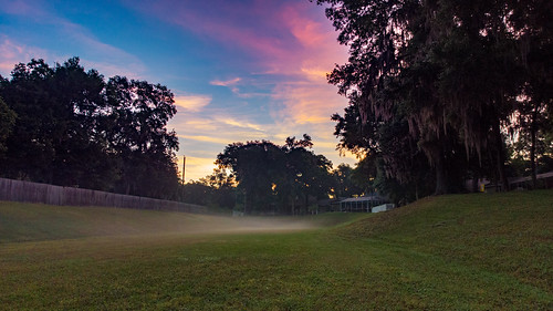 valrico florida unitedstatesofamerica us sunrise drainage ditch fog hazy djimavicair dji mavicair drone greengrass trees sky pink bluesky blue