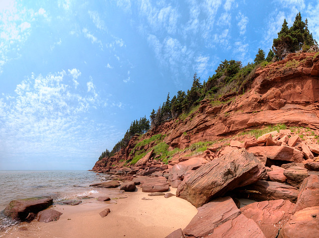 Wide-Angle View of Basin Head Cliffs