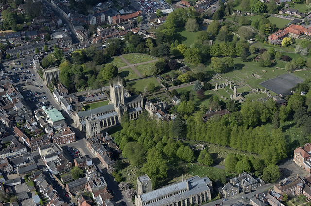 Aerial of St Edmundsbury Cathedral & Abbey - Bury St Edmunds