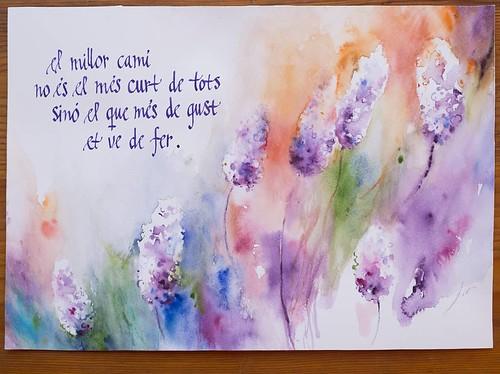 El millor camí... Flors d'aigua. Aquarel·la original Eva Elias, texts manuscrits de l'autor, Ferran Cerdans Serra