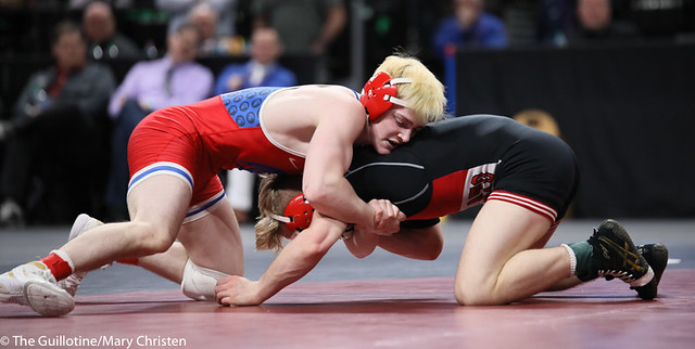 132AA 1st Place Match - Ryan Sokol (Simley) 51-0 won by fall over Charlie Pickell (Mankato West) 47-2 (Fall 5:56) - 190302BMC4438