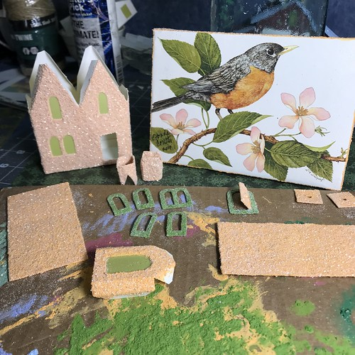 Robin greeting card and new putz house | by christmasnotebook