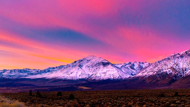 Mount Tom and Round Valley on a colorful winter's morning.