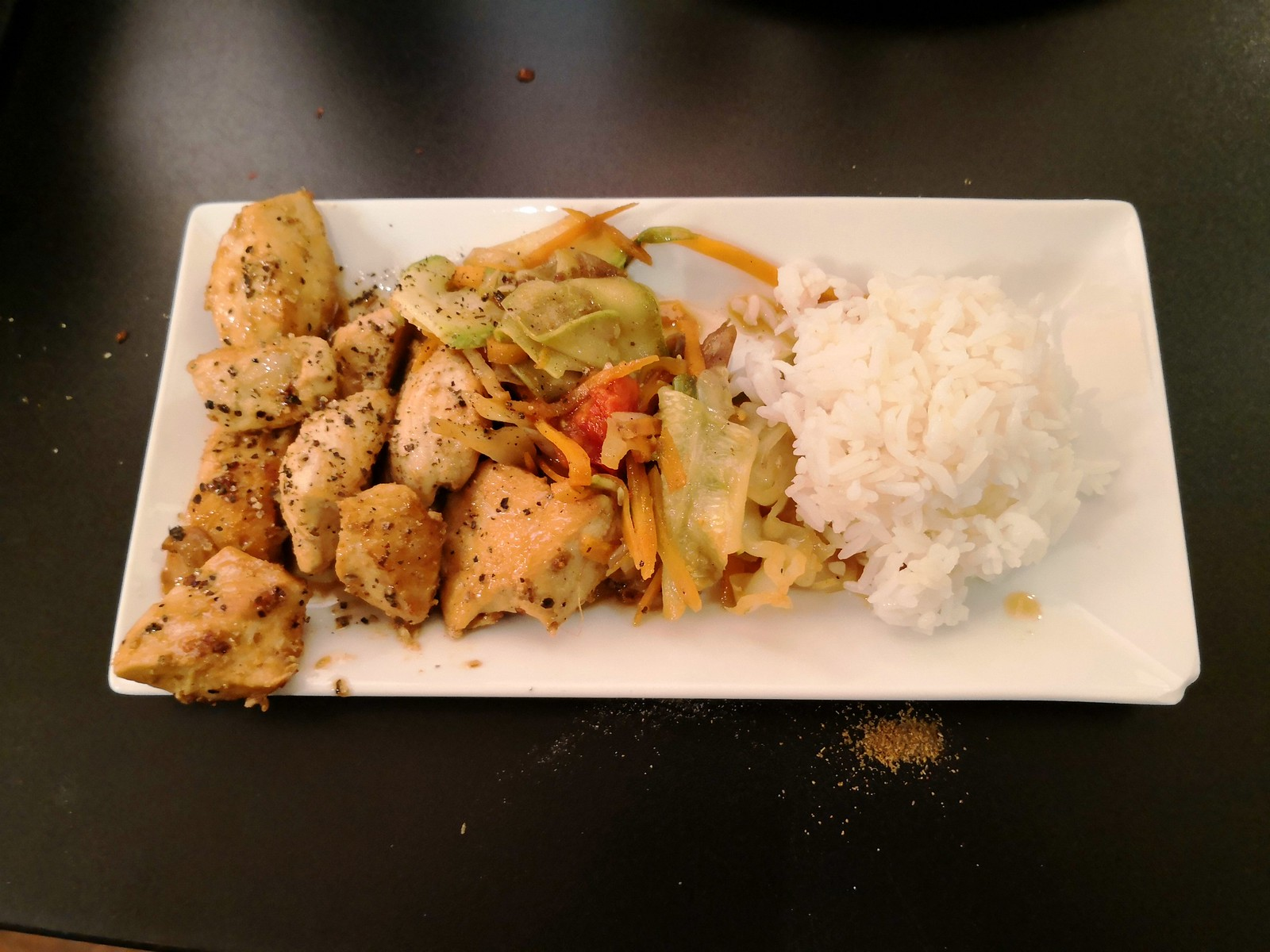 Chicken and vegetable teppanyaki with steamed rice