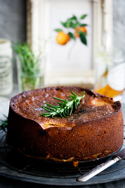Rhubarb, Orange Marmalade & Rosemary Cake