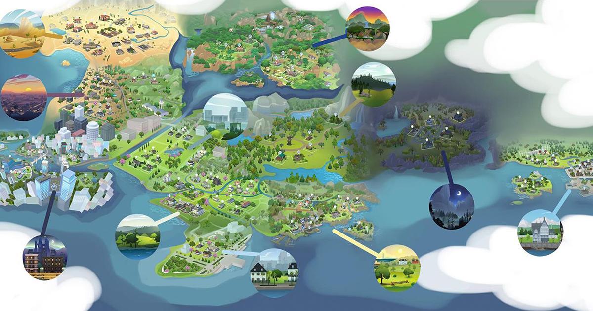 Como Seria o Mapa do The Sims 4 Se Todos Mundos Fossem Conectados