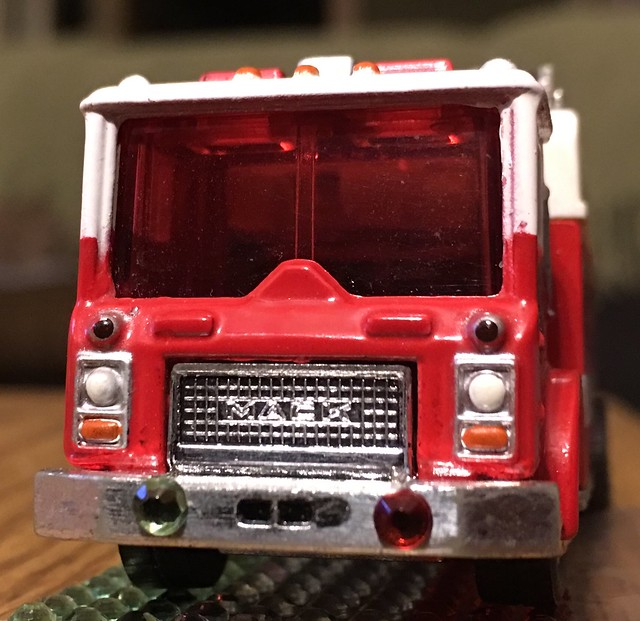 Added so red and Green lights on the Mack rescue truck .