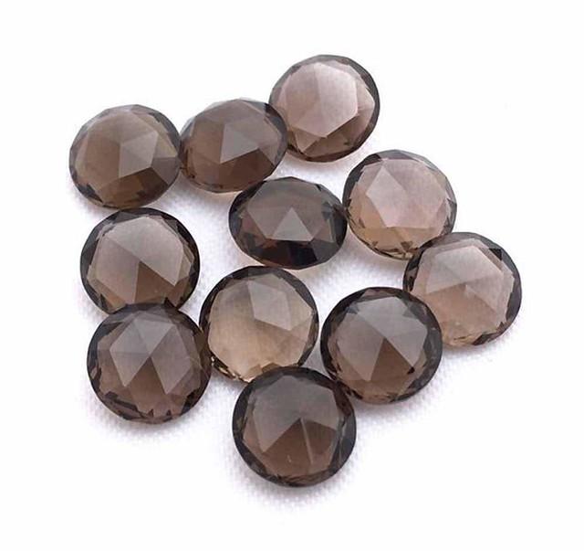natural smoky quartz round rose cut gemstone