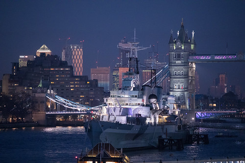 HMS Belfast, Canary Wharf and Tower Bridge