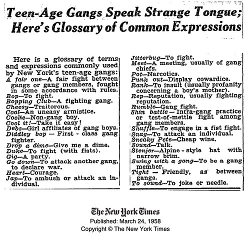 """Teen-age Gangs Speak Strange Tongue; Here's a Glossary of Common Expressions"" 