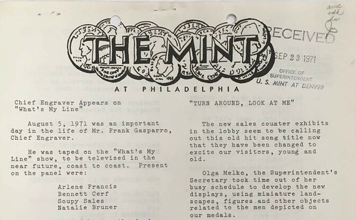 The Mint at Philadelphia newsletter masthead | by Numismatic Bibliomania Society