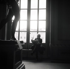 reading in the museum