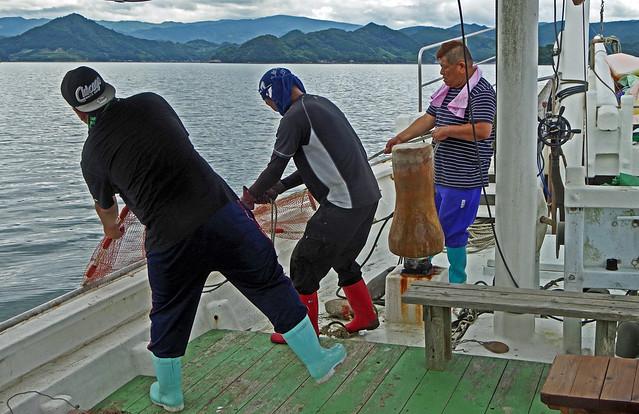 Hauling in the nets, Utasefune, Ashikita, Kumamoto  うたせ船 芦北 八代 熊本