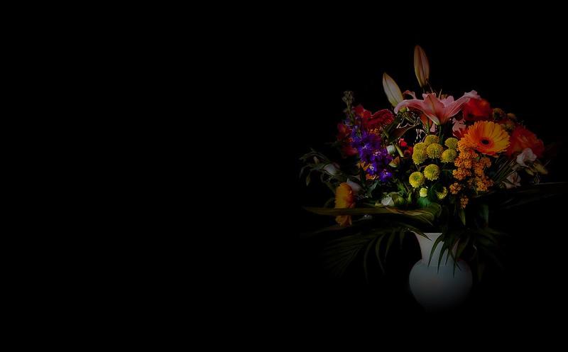 Обои фон, букет, ваза картинки на рабочий стол, раздел цветы - скачать