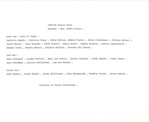 PB17 25B Remember Me 501 List of classmates Sr. room 1965-66 Edith Turner | by Bayfield Breeze