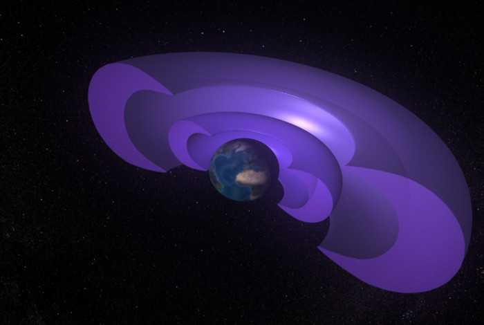 An artist's rendering of the Van Allen radiation belts surrounding Earth