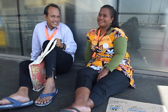 Itinnenga Uan—country head of Pacific Leprosy Foundation in Kiribati (left) and Kurarenga Kaitire, travelled for almost 24 hours  to reach Manila, the capital of the Philippines, to attend the Regional Assembly of Organisations of People Affected by Lepro