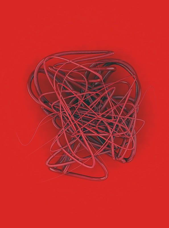 Обои сплайн, проволока, запутанный, красный, завитки картинки на рабочий стол, фото скачать бесплатно