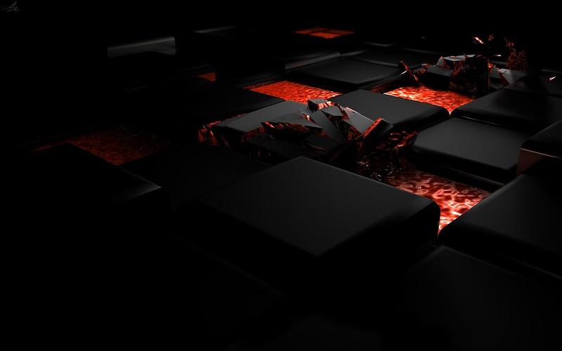 Обои куб, огонь, темный, свет, сплав картинки на рабочий стол, фото скачать бесплатно