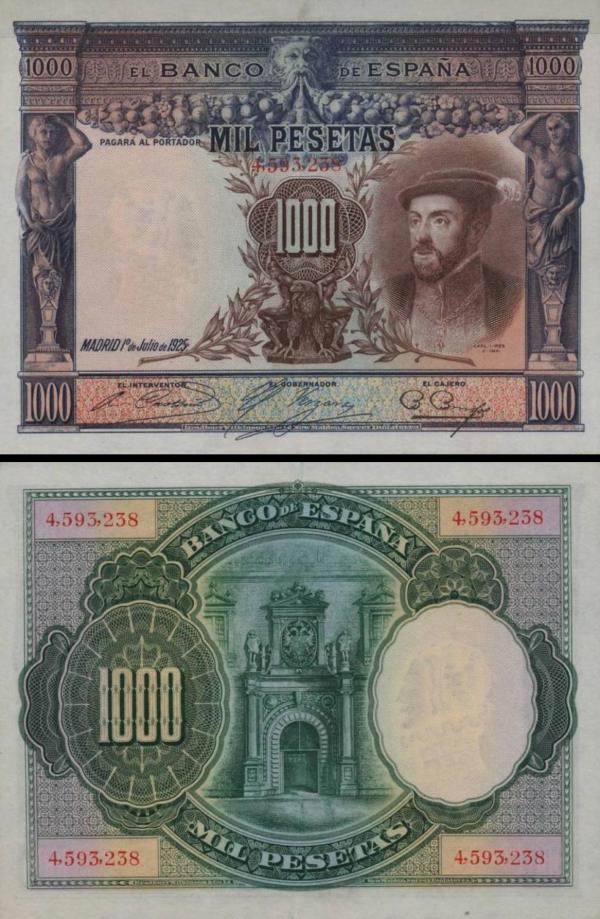 1000 Pesetas Španielsko 1936, P70c