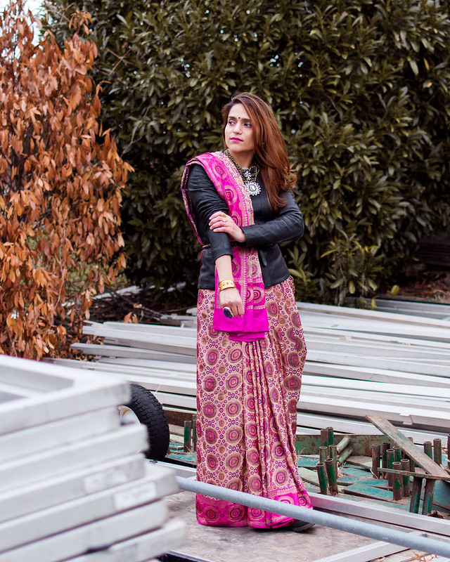 Saree, Leather Jacket, Boots, Tanvii.com
