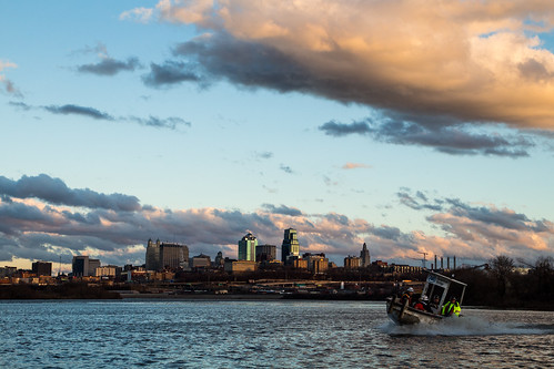 kawpointpark kansascity kansas kc skyline boat water river missouririver sky clouds sunset